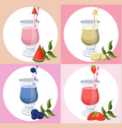 Summer cocktail fruits set fresh drink vector