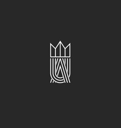 ua letters logo monogram and crown symbol vector image vector image