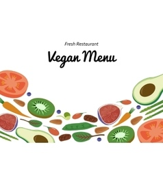 Vegan restaurant cafe menu superfood vegetable vector
