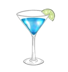 Hand drawn cocktail in martini glass with lime vector