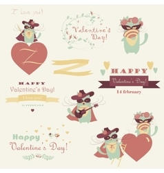 Set of couple funny valentine cats vector