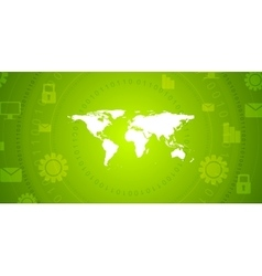 Global communication green tech design vector image