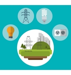 electrical pylon city bulb plug ecology vector image