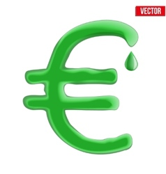 Currency euro in green liquid form vector