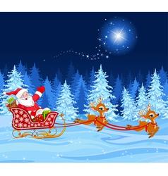 Santa Claus in Sled vector image