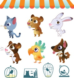 Set of cartoon pets vector