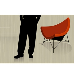 man with chair vector image