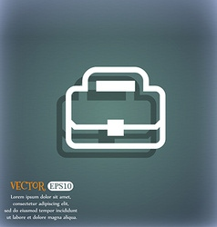 Briefcase icon symbol on the blue-green abstract vector