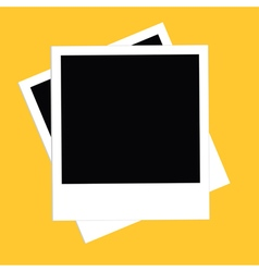 Two instant photo set flat design style yellow vector