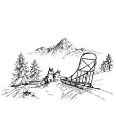 Winter mountain landscape husky dogs sledding vector