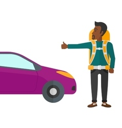 Young man hitchhiking vector