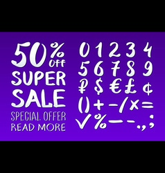 Numbers 0-9 written with a brush on a violet vector