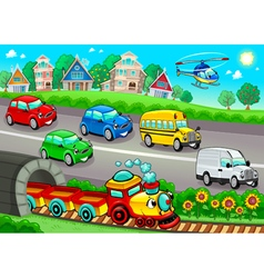 Funny vehicles in the town vector