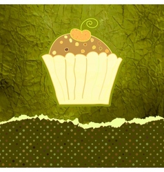 Vintage cupcakes birthday card vector