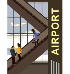 Escalator in the airport building vector