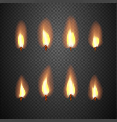Burning candle flame animation frames vector
