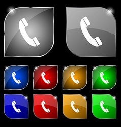 Call icon sign Set of ten colorful buttons with vector image vector image