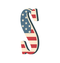 capital 3d letter s with american flag texture vector image vector image