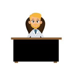 character doctor sitting desk and chair vector image