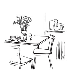 Dining table for date with coffee hand drawn vector