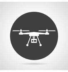 Drone black round icon vector image