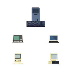 Flat icon computer set of technology processor vector