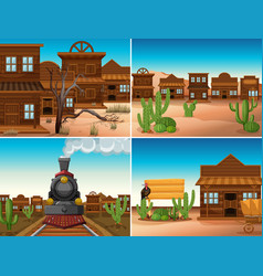 Four western scenes with buildings and train vector