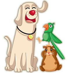 funny pet shop mascots cartoon vector image