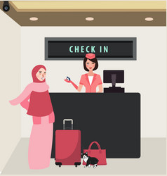 Girl woman check in airline flight front desk vector
