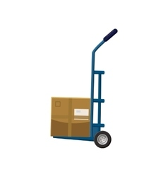 Hand truck with box icon cartoon style vector
