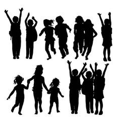 Happy children silhouettes vector
