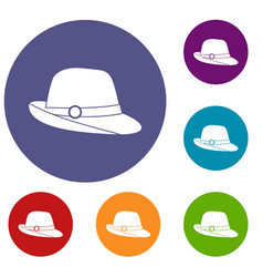 hat icons set vector image vector image