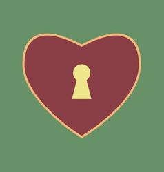 Heart with lock sign cordovan icon and vector