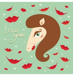 horse kiss valentine vector image