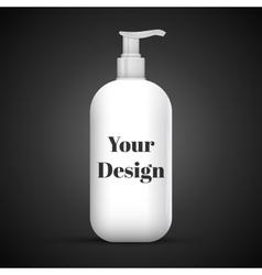 Plastic Clean White Bottle With Dispenser Pump vector image
