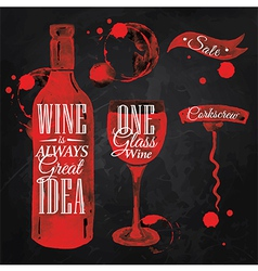 Pointer drawn pour wine chalk vector image