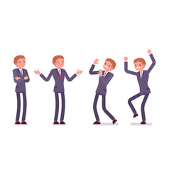 Set of young standing businessman showing negative vector
