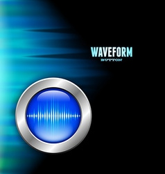 Silver button with sound wave sign and polar light vector image