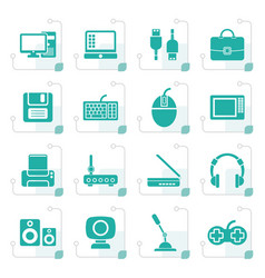 Stylized computer equipment and periphery icons vector