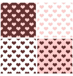 Tile brown pink and white hearts pattern set vector image