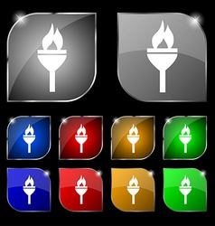Torch icon sign set of ten colorful buttons with vector
