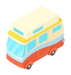 Traveling camper van icon isometric 3d style vector