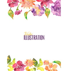 Watercolor with fllower vector
