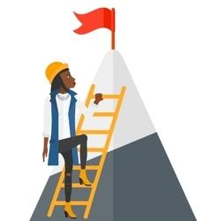 Woman climbing on mountain vector