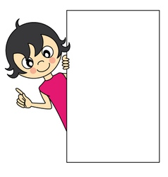 Little girl with a blank sign vector