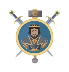 Coat of arms shield with swords vector