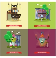 Set of cool robots flat style design vector