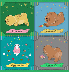 Set of vintage greeting cards with cartoon animals vector