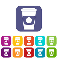 Paper coffee cup icons set flat vector