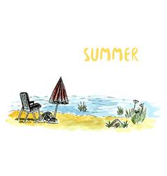 Sketch art with beach armchair and umbrella river vector